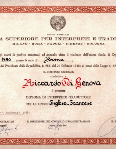 Diploma SSIT ROMA